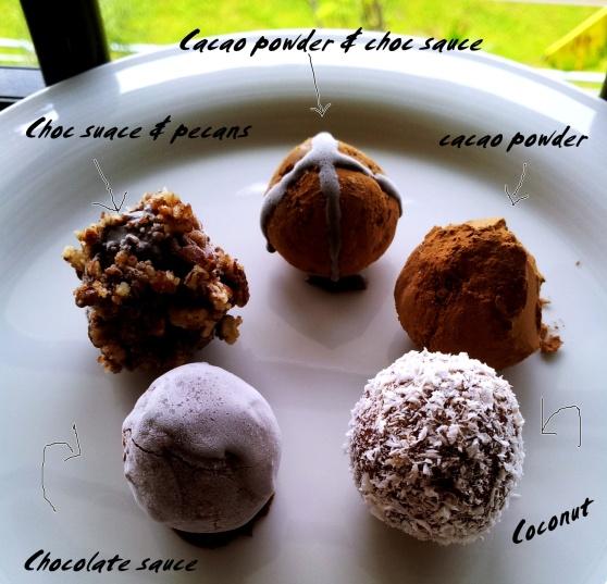 Raw choco truffles